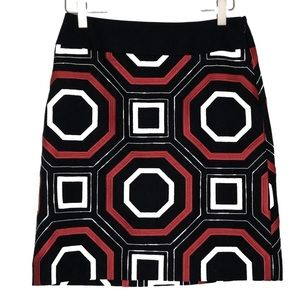 Ann Taylor Red Black White Embroidered Geo Skirt